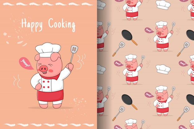 Cute piggy chef with spatula seamless pattern and card