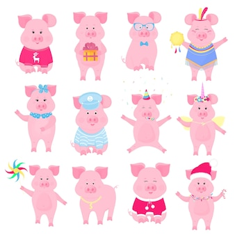 Cute piggy in different costumes. unicorn, santa claus, injun, sailor, funny animal. the symbol of the chinese new year. pig cartoon character