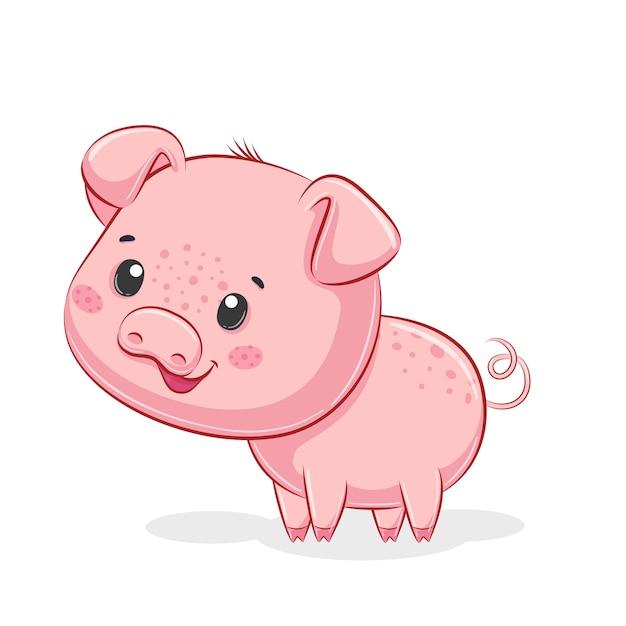 かわいい豚のイラスト。
