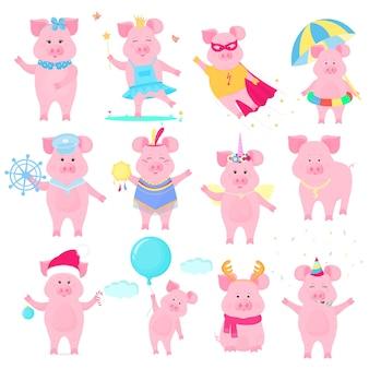 다른 의상을 입은 귀여운 돼지. 슈퍼 히어로, 공주, 산타 클로스. 재미있는 동물. 중국 설날의 상징입니다. 돼지 만화 캐릭터