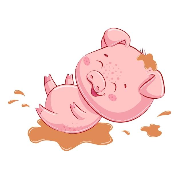 泥の中のかわいい子豚。