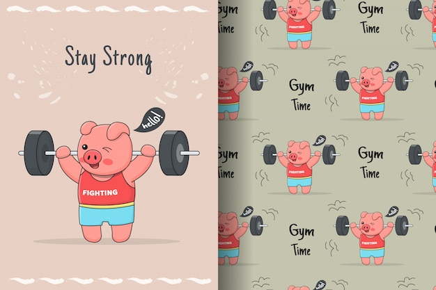 Cute piggy lifter seamless pattern and card