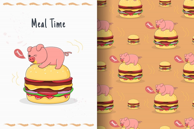 ハンバーガーのシームレスなパターンとカードの上にかわいい貯金箱