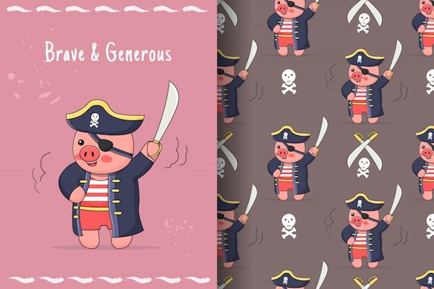 かわいい貯金箱海賊のシームレスなパターンとカード
