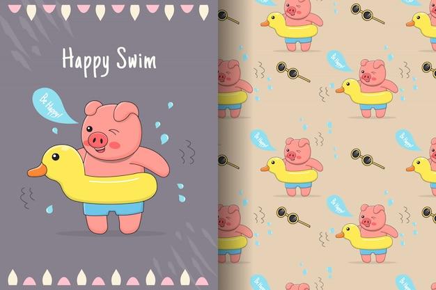 Cute piggy rubber duck seamless pattern and card
