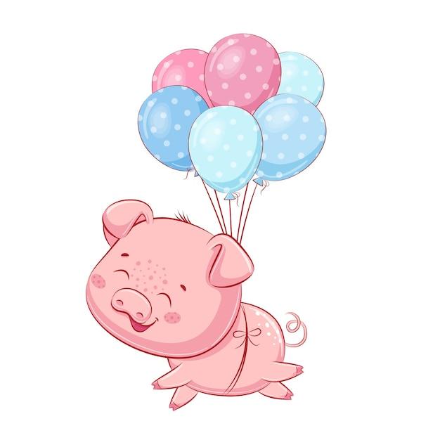 Милый поросенок с воздушными шарами.