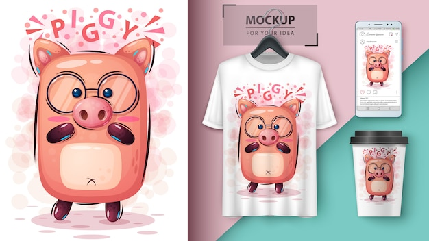 Cute pigposter and merchandising
