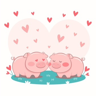 Cute pigs couple illustrated