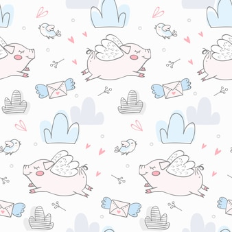 Cute pigs flying kids seamless pattern