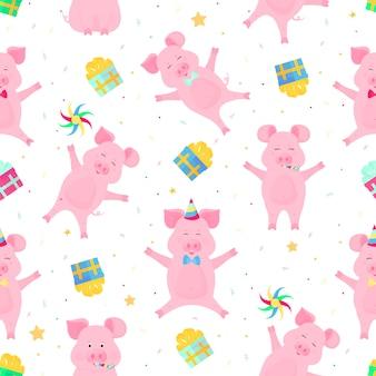 Симпатичные свиньи с удовольствием. веселые поросята отмечают свой день рождения. кабаны на вечеринке бесшовные модели.