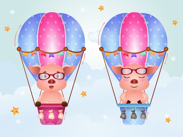 Cute pigs on hot air balloon