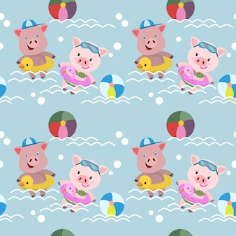 Cute pigs swim in the pool seamless pattern.