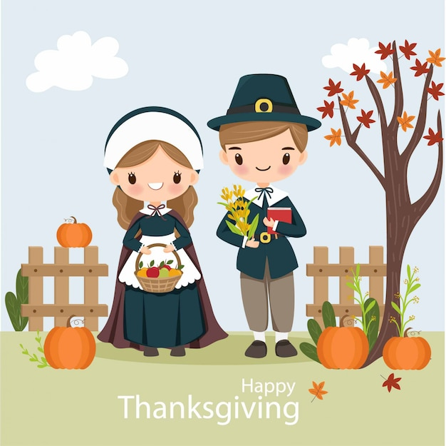 Cute pilgrim boy and girl with pumpkin for thanksgiving day