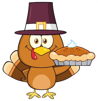 Cute pilgrim turkey bird cartoon character holding a pie.