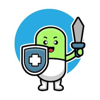 Cute pill capsule cartoon illustration