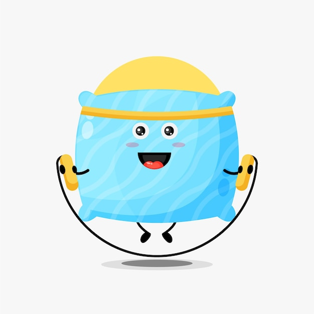 Cute pillow character doing jump rope