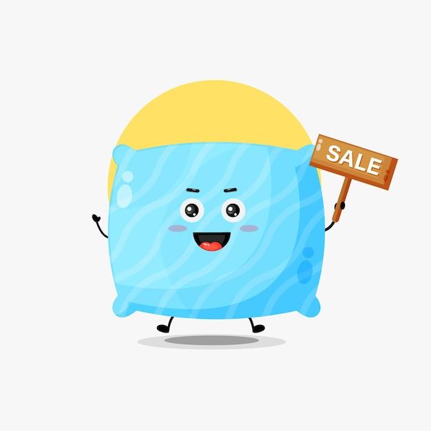 판매 기호가 있는 귀여운 베개 캐릭터