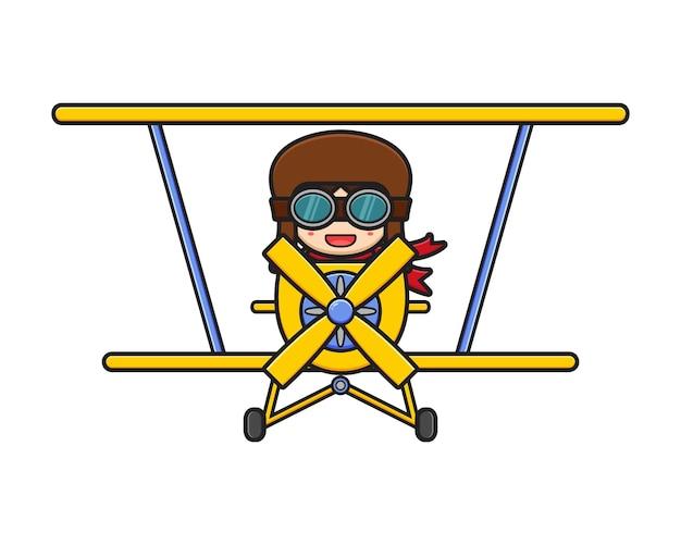 Cute pilot driving a plane cartoon icon illustration. design isolated flat cartoon style