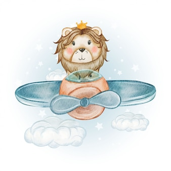 Cute pilot lion king on an airplane watercolor illustration