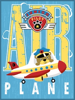 Cute pilot on little airplane with funny flight logo