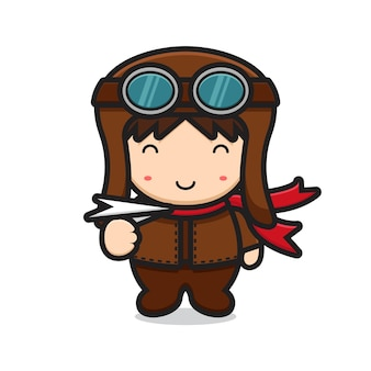 紙飛行機を再生するかわいいパイロットマスコットキャラクター