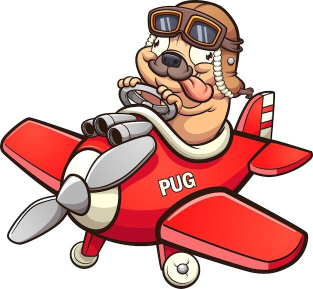 Милый пилот мопс летит на крошечном красном игрушечном самолетике