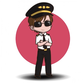 Cute pilot vector. cartoon characters