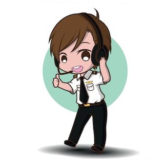 Cute pilot vector. cartoon characters