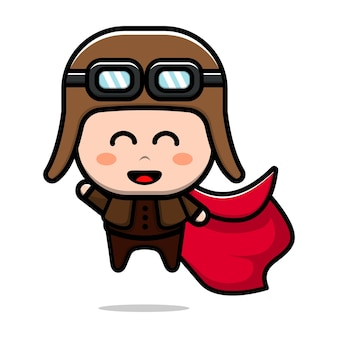 Cute pilot worker character cartoon illustration