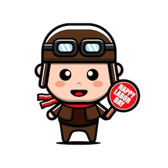 Cute pilot worker character labour day concept illustration