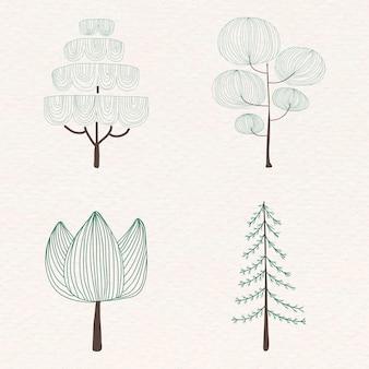 かわいい松の木のステッカーセット
