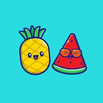 Симпатичный ананас с арбузом значок иллюстрации. концепция значок летние фрукты.