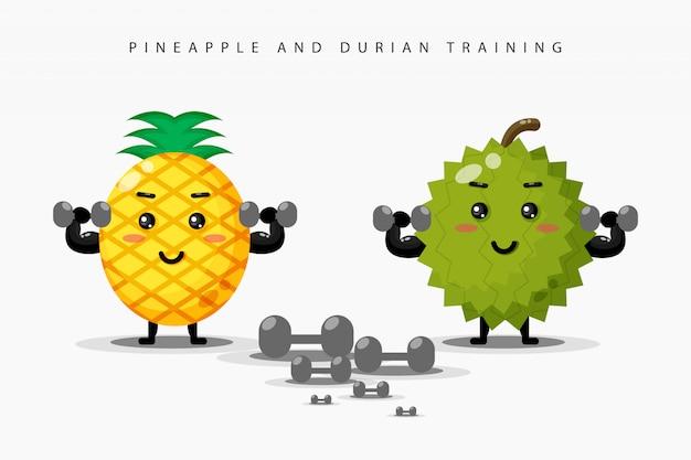 かわいいパイナップルとドリアンのバーベル体操