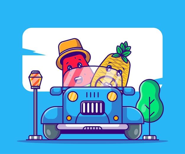 Милый ананас и арбуз за рулем автомобиля карикатура иллюстрации на лето