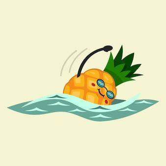 かわいいパイナップルの漫画のキャラクターは水泳に従事しています。健康とフィットネスを食べる。背景に分離されたイラスト。