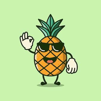 サングラスベクトルを身に着けているかわいいパイナップル漫画のキャラクター