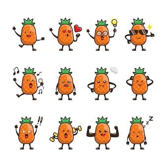 Милый ананас мультфильм дизайн набор
