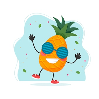 Cute pineapple character. colorful summer design.