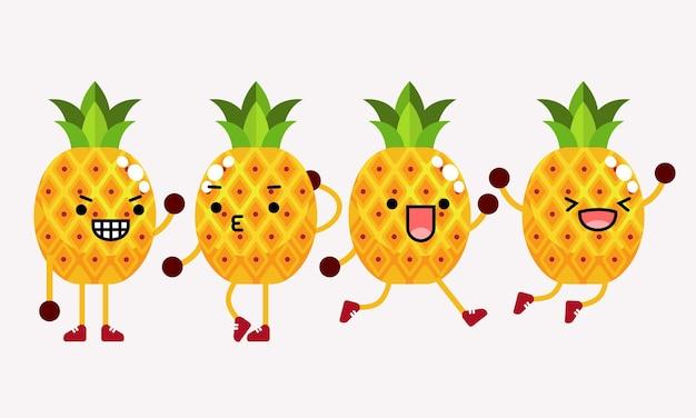 ポーズや表情の違うかわいいパイナップルキャラクターマスコットイラスト