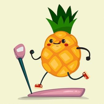 Милый ананас делает упражнения на беговой дорожке. здоровое питание и фитнес. иллюстрация, изолированных на фоне.