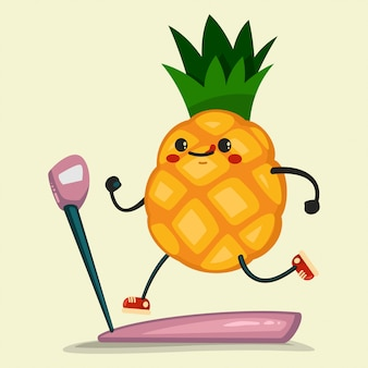 Cute pineapple doing exercises on a treadmill. eating healthy and fitness.   illustration isolated on background.