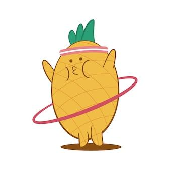 Милый ананас делает упражнения с персонажем мультфильма хула-хуп