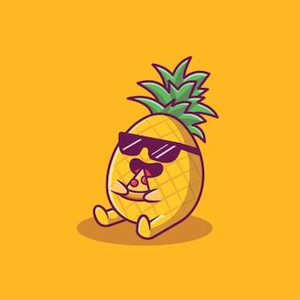 Симпатичные ананас едят пиццу мультфильм значок иллюстрации. летние фрукты значок концепции изолированы. плоский мультяшный стиль