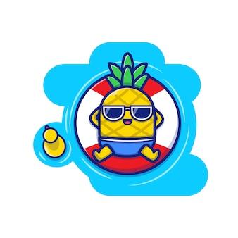 プールアイコンイラストに浮かぶかわいいパイナップル。夏の果物アイコンコンセプト。