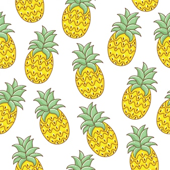 Симпатичные ананасы ручной обращается бесшовные модели