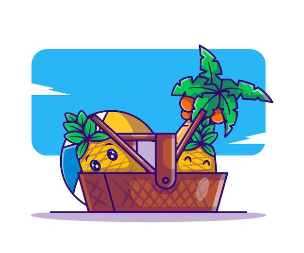 Милый ананас в корзине для пикника и мультяшная иллюстрация с пляжным мячом на лето
