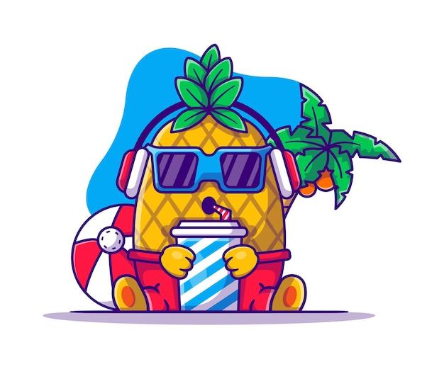 飲み物の漫画イラストで音楽を聴くかわいいパイナップル