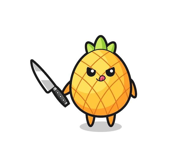 ナイフを持ったサイコパスとしてのかわいいパイナップルのマスコット、tシャツ、ステッカー、ロゴ要素のかわいいスタイルのデザイン