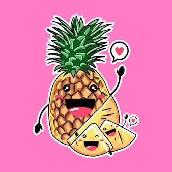 ピンクで分離されたかわいいパイナップルのマスコット