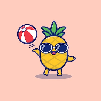 Cute pineapple playing summer ball cartoon vector icon illustration. summer fruit icon concept isolated premium vector. flat cartoon style